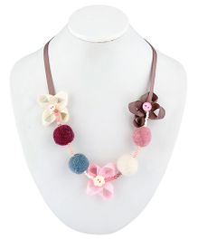 Ribbon Candy Felt Ribbon Buttons & Beads Necklace - Pink Grey