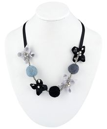 Ribbon Candy Felt Ribbon Buttons & Beads Necklace - Black Grey
