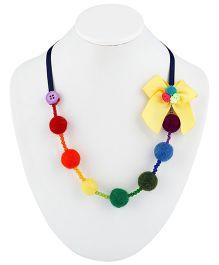 Ribbon Candy Felt Balls & Ribbon Necklace With Bow - Rainbow