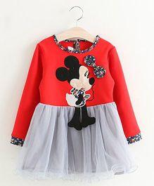 Pre Order Petite Kids Full Sleeves Dress Minnie Applique - Red