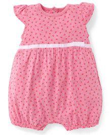 Fox Baby Cap Sleeves Romper Floral Print - Pink