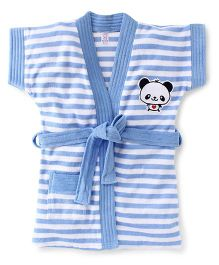 Pink Rabbit Short Sleeves Stripes Bath Robe With Panda Patch - Blue