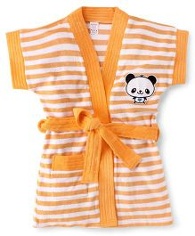 Pink Rabbit Short Sleeves Stripes Bath Robe With Panda Patch - Orange