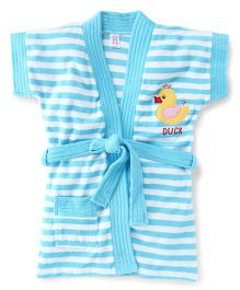 Pink Rabbit Short Sleeves Stripes Bath Robe With Duck Patch - Blue