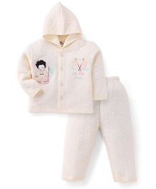 Little Darling Full Sleeves Hooded Winter Hooded T-Shirt and Pant - Butter Yellow