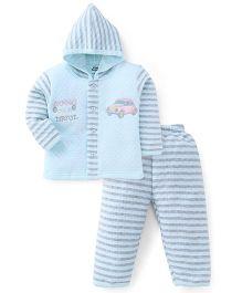 Little Darling Full Sleeves Winter Wear Hooded Suit - Aqua