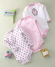 Luvable Friends Owl & Floral Print Set Of 3 Bodysuits - White & Pink