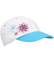 Boutchou Flower Printed Cap - White & Blue
