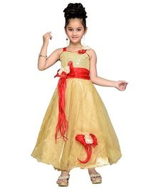 Aarika Sequined Yoke Flower Applique Gown - Gold & Red