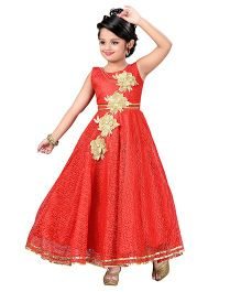 Aarika Flower Applique Indo Fusion Party Wear Ball Gown - Red
