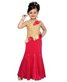 Aarika Sequined Embroidered Yoke With Flower Applique Gown - Pink & Gold