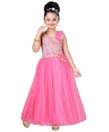 Aarika Indo Western Style Party Wear Ball Gown - Hot Pink