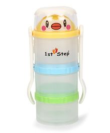 1st Step Food Container With Fork And Spoon - Yellow Blue Green