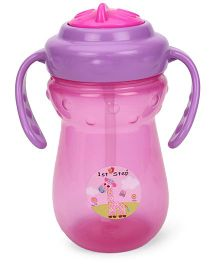 1st Step 2 Handle Cup With Straw Sipper  Pink - 250 ml