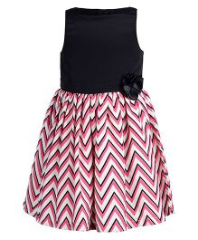 Toy Balloon Zig Zag Printed Sleeveless Crepe Frock - Pink