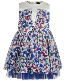 Toy Balloon Sleeveless Frock Butterfly Print - Blue And White