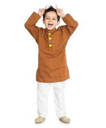 Little Pockets Store Kurta Pajama Set - Brown And White