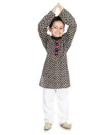 Little Pockets Store Kurta Pajama Set - Black And White