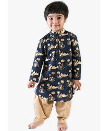 Tiber Taber Full Sleeves Kurta And Pajama - Blue Beige