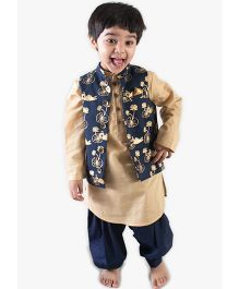 Tiber Taber Full Sleeves Pathani Suit With Nehru Jacket Animal Print - Blue Beige