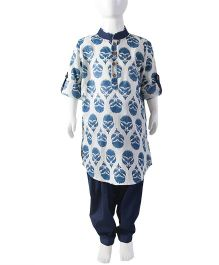 Tiber Taber Full Sleeves Jaipuri Pathani Suit - White Navy Blue