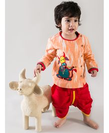 Tiber Taber Boys Holy Cow Kurta & Dhoti Set - Orange & Red