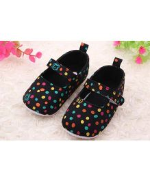 Alle Alle Dotted Baby Booties - Black