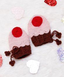 D'chica Woollen Cupcake Mittens - Pink Brown