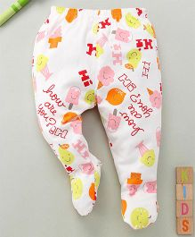 Debao How Are You Print Footed Leggings - White