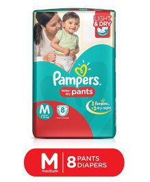 Pampers Pant Style Diapers Light And Dry Medium - 8 Pieces