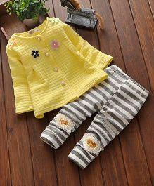 Pre Order - Little Mantra Floral Print Top & Pant Set - Yellow