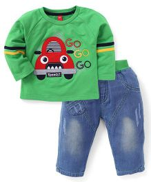 Wow Full Sleeves T-Shirt And Pant Set Go Go Print - Green Blue