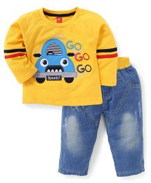 Wow Full Sleeves T-Shirt And Pant Set Go Go Print - Yellow Blue