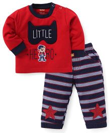 Wow Full Sleeves T-Shirt And Pant Set Little Hero Print - Red Navy