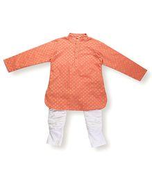 Hugsntugs Gold Printed Kurta & Pajama Set - Orange