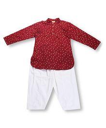 Hugsntugs Printed Kurta & Pajama Set - Maroon