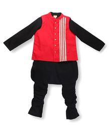 Hugsntugs Kurta Pajama Set With Waistcoat - Black & Red