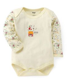 Tango Full Sleeves Friends Print Onesie - Lemon Yellow
