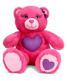Keel Gem Bear Soft Toy With Glitter Heart Pink - Height 25 cm