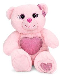 Keel Gem Bear Soft Toy With Glitter Heart Light Peach - Height 25 cm