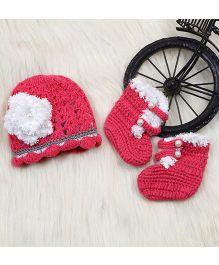The Original Knit Woolen Cap And Booties Flower Applique - White Dark Pink