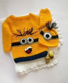 The Original Knit Full Sleeves Sweater With Cap Cartoon Design - Yellow