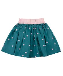 Pranava Heart Print Balloon Skirt - Sea Green