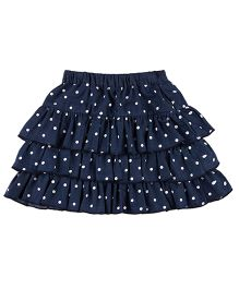 Pranava Polka Dot Print Skirt - Blue & White