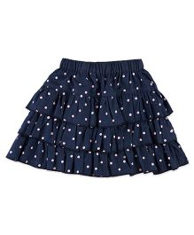 Pranava Polka Dot Denim Skirt - Navy Blue & Pink