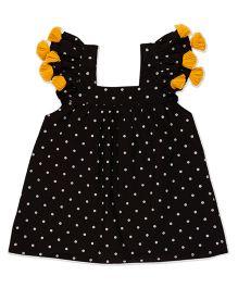 Pranava Polka Dot Tassels Dress - Black