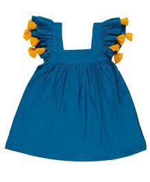 Pranava Square Neck Tassels Dress - Blue