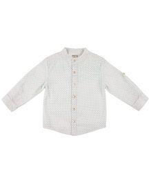 Pranava Kurta Shirt With Mandarin Collar - White & Blue