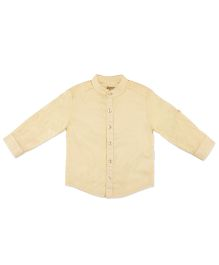 Pranava Kurta Shirt With Stand Collar - Yellow