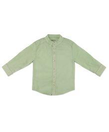 Pranava Kurta Shirt With Stand Collar - Green